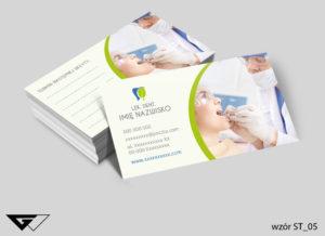 wizytówka karta wizyt dla dentysty gotowy wzór