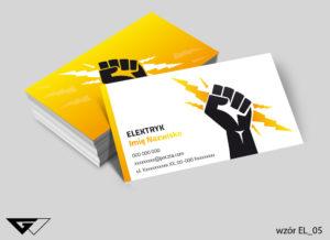 Wizytówka elektryk żółta gotowy wzór