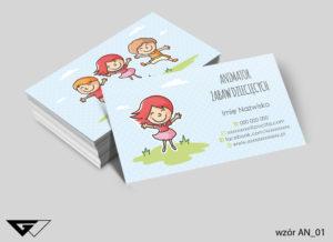Wizytówki animator projekt gratis tani druk